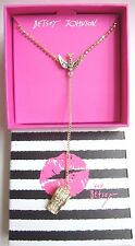 "NIB Betsey Johnson "" BIRD & WHISTLE "" Gold Tone & Pave Crystal Y Necklace~PRETTY"
