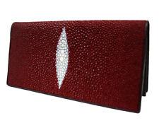 Genuine Stingray Leather Ladies' Bi-Fold Wallet, Burgundy (02-105)