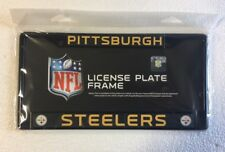 Pittsburgh Steelers Chrome Metal License Plate Frame - Auto Tag Holder NEW Black