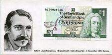ROYAL BANK OF SCOTLAND ROBERT LOUIS STEVENSON COMMEMORATIVE £1 BANKNOTE & Folder