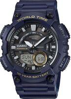 Casio Men's Quartz World Time 10-Yr Battery Blue Resin 47mm Watch AEQ110W-2AV