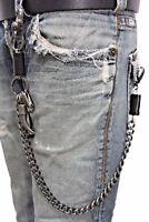 Men Silver Metal Wallet Chain KeyChain Black Leather Horn Skull Motorcycle Biker