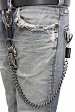 Men Silver Metal Wallet Chain KeyChain Black Leather Horn Skull Motorcycle Biker
