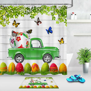 Easter Eggs Butterfly Green Truck Wood Planks Shower Curtain Set Bathroom Decor