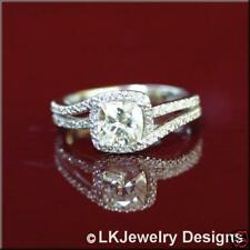 1.30 Ct FOREVER ONE GHI CUSHION  HALO MOISSANITE  ENGAGEMENT RING