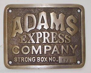 Adams Express Company Solid Brass Plaque