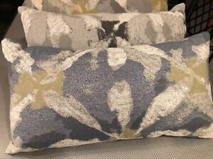 """Multi-colored Blue Handmade cushion with feather insert - 24"""" x 12.5"""""""