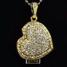USB Stick 4 GB Jewellery Heart Pendant Necklace Rhinestone Gold Coeur Corazón