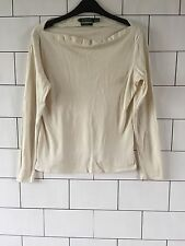 WOMEN'S RALPH LAUREN CREAM VINTAGE RETRO LONG SLEEVED SILK TOP SIZE MEDIUM