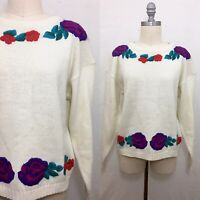 Vintage 80s Parrinello White Floral Embroidered Pullover Size Medium