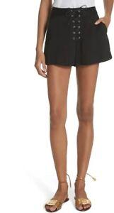 Veronica Beard Lulu lace-Up Shorts Black 4 NWT $350