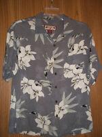 Caribbean Joe Hawaiian Shirt Medium Gray White Flowers