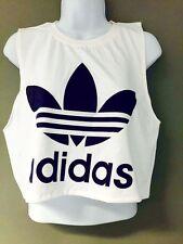 New Reworked ADIDAS ORIGINALS Drop Armhole Crop Top T-Shirt S