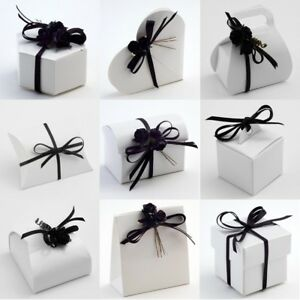 Pure Brilliant White Glossy Wedding DIY Favour Party Gift Boxes