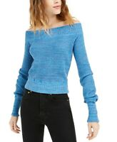 Free People Sweater Sugar Rush Off the Shoulder Women Blue Sz S NEW NWT 453
