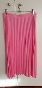 H&M Candy Hot Pink Pleated Skirt Size 12. Midi.  Excellent Condition. Zipper.