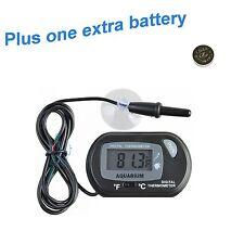 Lcd Digital Fish Aquarium Thermometer Water Terrarium Black Free Extra Batteries