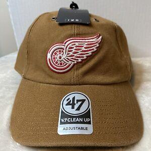 Detroit Red Wings Carhartt Mens BROWN '47 clean up adjustable Hat cap NHL - NEW
