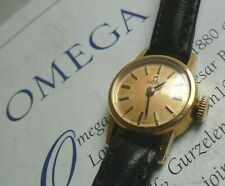 Solid 18k Gold Vintage 1964 Lady's Omega 17 Jewel Cal. 484 Swiss Watch Runs
