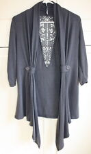 Almost Famous Gray Size Small Shrug Crochet Back detail Cinched Sleeves