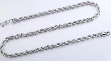 """20"""" 2.5mm Stainless Steel Twisted Rope Chain Pendant Silver Tn Necklace STT2.5S"""