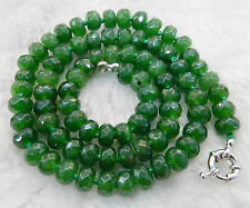 "Dark Green 5x8mm Natural Green Jade Faceted Roundel Beads Necklace 18"" AA"