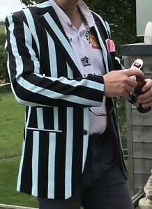 """Brand New UNIQUE Rugby supporter stripey blazer & Exeter Chiefs lapel badge 42"""""""