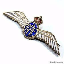 1930s WW2 Royal Air Force RAF Wings Brass & Enamel Sweetheart Brooch Badge #A049