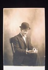 Real Photo, Divided Back Postcard - Young Man with Rabbit