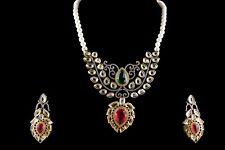 Exclusive Indian Ruby & Emerald Kundan Costume Jewellery Set Rani Haar Handmade