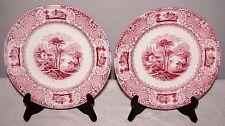 "2 Early 1852 JW Pankhurst England Lucerne Red 8 1/2"" Salad Dessert Plates VGOOD"