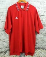 Adidas Mens Climalite Polo Shirt Golf Sport Red Stripe Collar Size XXL 2XL Logo