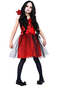 Girls Gothic Vampiress Costume Halloween Living Dead Child Kids Dress Elegant