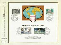 Foglio CEF 1er Giorno Monaco Emissione Raggruppati 1970 Nostri 25