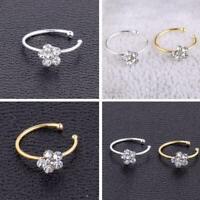 Girl Women Flower Nose Ring Fake Hoop Rhinestone Body Piercing Jewelry Char W9R5