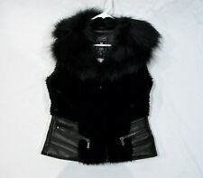 GUESS Ladies Leather & Faux Fur Black Vest-Sz Small-New Without Tag! Retail 200.