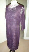 Kaliko Purple Lace All Over Lined Dress Size UK 14