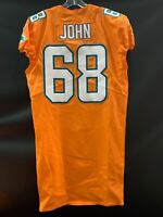 #68 ULRICK JOHN MIAMI DOLPHINS GAME USED TEAM ISSUED ORANGE COLOR RUSH JERSEY