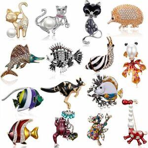Fashion Crystal Rhinestone Cat Fish Butterfly Animals Dog Brooch Pin Women Hot