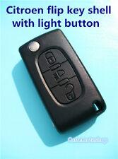 CITROEN C4 C5 C6 C8 3 BUTTON REMOTE FLIP KEY FOB with light button