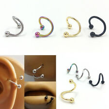 8x Stainless Steel nose lip Eyebrow Flexo Twist Helix Cartilage Ring Earrings、UK