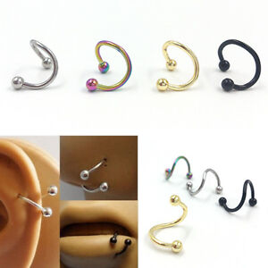 4X Stainless Steel Twist Nose Lip Eyebrow Cartilage Ring Earring PiercinCACA