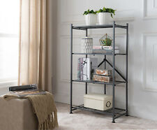 Kings Brand 4 Tier Gray Metal Folding Storage Bookcase Organizer Display Unit
