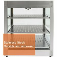 Countertop Food Warmer Commercial Pizza Pastry Warmer Display Case 3 Tier Class