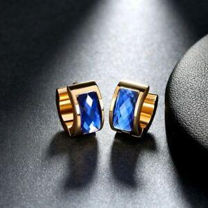 Stainless Steel Gold And Blue Hoop Earrings Unisex