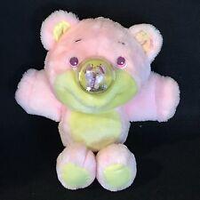 """Vintage 1980s NOSY BEAR 11"""" PLAYSKOOL Light Pink """"Flybye"""" Butterfly Nose Bear"""