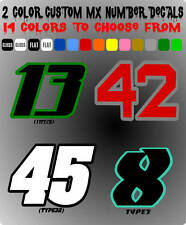 2 COLORS MX NUMBER PLATE RACING DECALS STICKERS SUPERCROSS SUPERBIKE TRIAL ATV