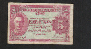 5 CENTS VG- FINE BANKNOTE FROM BRITISH MALAYA 1941 PICK-7