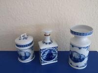 3 Teile  Porzellan Fine China Lichte Echt Kobalt DDR top Zust Vase Deckeldose Fl