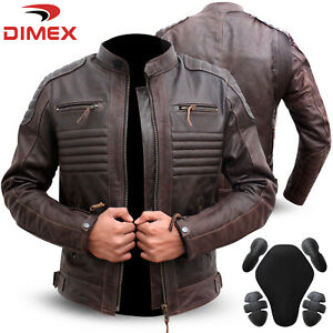 Genuine Leather Motorbike Motorcycle Jacket Biker With CE Armour Brown Dimex